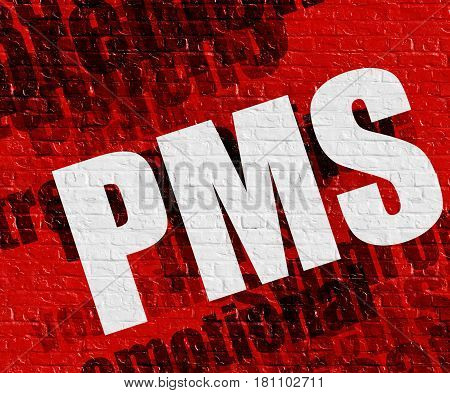 Medicine concept: Red Brickwall with Pms - Premenstrual Syndrome Stress on the it . Pms - Premenstrual Syndrome Stress - on Brick Wall with Wordcloud Around .