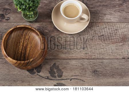 Coffee Espresso, Bonsai Tree And Bamboo Bowls On A Wooden Table Background. Dark Wood. Empty Place,