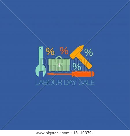 Labour Day Sale Promotion template. Labour Day or May Day icon with hammer and wrench