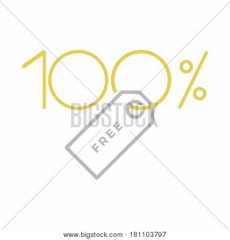 Typographic symbol for one hundred percent free tag that can be used for logo or as isolated graphic element
