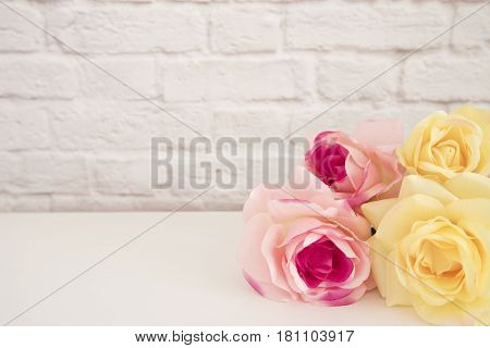 Pink Rose Mock Up. Styled Stock Photography. Floral Frame, Styled Wall Mock Up. Rose Flower Mockup,