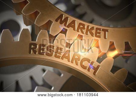 Market Research on the Mechanism of Golden Metallic Cogwheels. Market Research Golden Cog Gears. 3D Rendering.