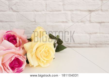 Pink Rose Mock Up. Styled Stock Photography. Floral Frame, Styled Wall Mock Up. Rose Flower Mockup,