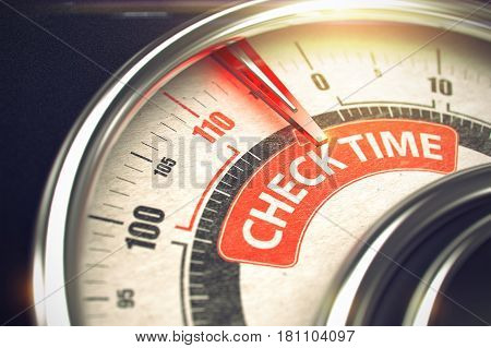 Check Time - Red Label on the Conceptual Speedmeter with Needle. Business or Marketing Mode Concept. Rev Counter with Red Needle Pointing the Caption Check Time on the Red Label. 3D Illustration.