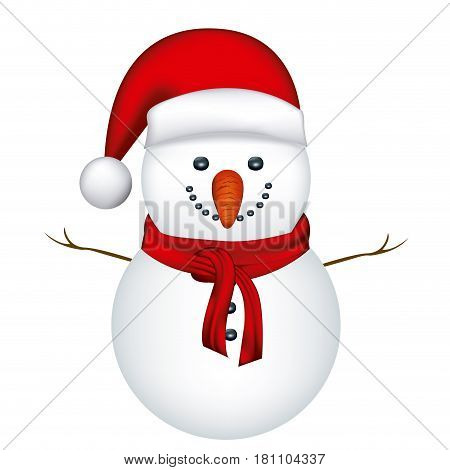 snowman with red hat and scarf in white background vector illustration