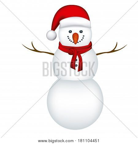 big snowman with red hat and scarf in white background vector illustration