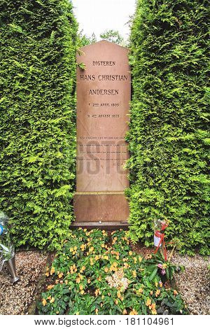 COPENHAGEN DENMARK - JUNE 15: The grave of famous danish writer Hans Christian Andersen in 2012