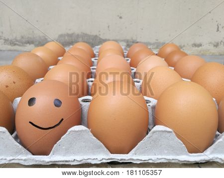 Dozen of chicken egg for cooking breakfast in the egg storage tray with blur background Easter egg for hiding Easter egg happy smiling face at the left front of egg row