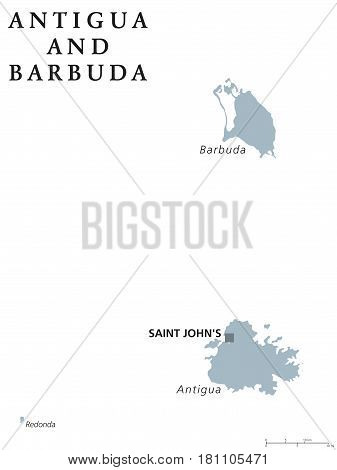 Antigua and Barbuda political map with capital Saint Johns. Caribbean twin-island country. Part of Lesser Antilles and Leeward Islands. Gray illustration on white background. English labeling. Vector.