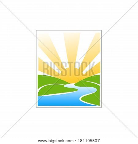 Minimal illustration with hills, water and sunrise that can be used for logo or as isolated graphic element