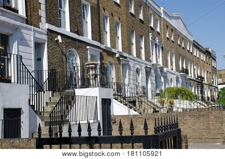 Row of typical London townhouses in Chelsea