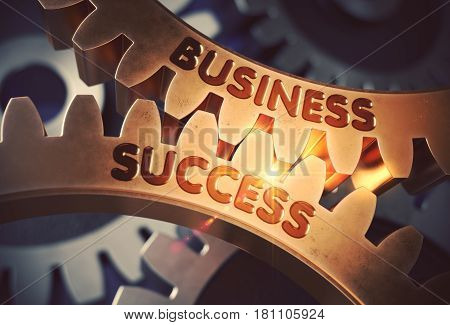 Business Success - Illustration with Glow Effect and Lens Flare. Business Success on Mechanism of Golden Cog Gears. 3D Rendering.