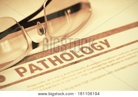 Pathology - Printed Diagnosis on Red Background and Glasses Lying on It. Medical Concept. Blurred Image. 3D Rendering.
