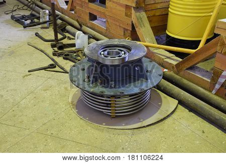Disassembled Element Of An Induction Motor. Cooling Pipes And Ro