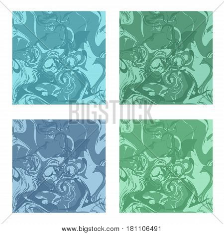 Set of marble texture patterns. Seamless patterns of blue and green colors like malachite and turquoise. Abstract design background. Vector illustration.