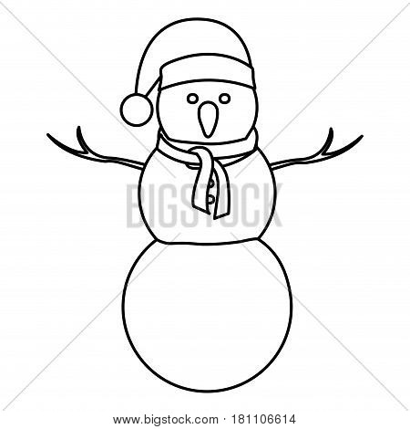 monochrome contour of big snowman with christmas hat and scarf vector illustration