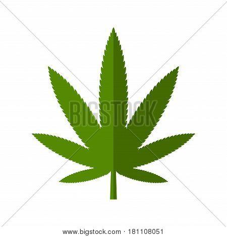 Cannabis Leaf Icon. Flat Style Marijuana Logo. Vector