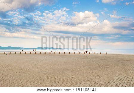 Stone Tiles Pavement Near The Sea Shore