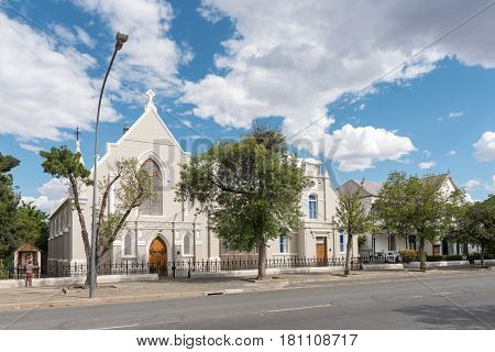 GRAAFF REINET SOUTH AFRICA - MARCH 22 2017: The Trinity Methodist Church hall and rectory in Graaff Reinet in the Eastern Cape Province