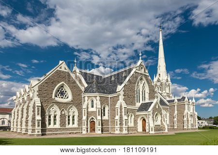 GRAAFF REINET SOUTH AFRICA - MARCH 22 2017: The Dutch Reformed Church built 1885-1887 is one of more than 200 buildings in the town declared as a national monument in Graaff Reinet