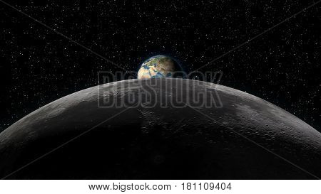 Planet Earth rising over the Moon horizon partially visible. Digital 3D illustration. Elements of this illustration are furnished by NASA.