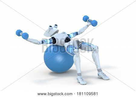 3d render of a robot using dumbbells on a blue exercise ball against a white background.