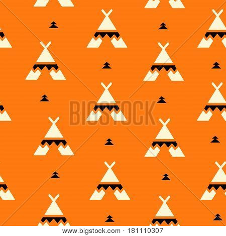 Summer pattern with wigwam and black triangles. Aztec design. Vector background.