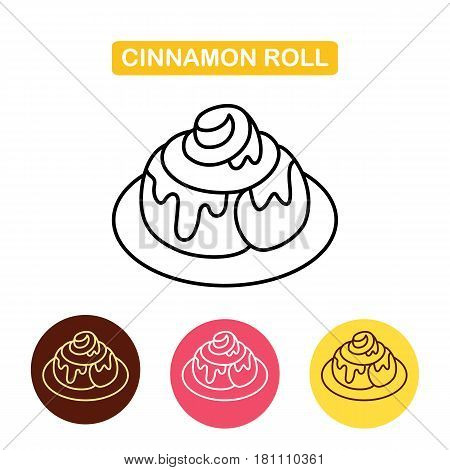 Cinnamon Bun Roll line Icon. Fresh sweet cinnamon bun. Bakery products image.  Outline vector Logo illustration.  Trendy Simple vector symbol for web site design or mobile app.