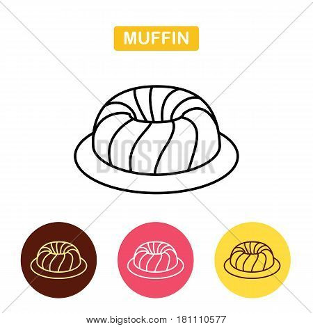 Muffin outline icon.  Dessert cake symbol.  Bakery products image.  Outline vector Logo illustration.  Trendy Simple vector Illustration isolated for graphic and web design.