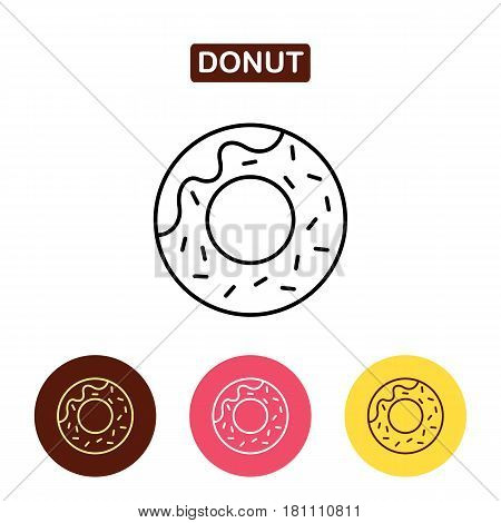 Donut icon. Dessert image. Bakery products image. Outline vector Logo illustration. Trendy Simple vector Illustration isolated for graphic and web design. icon for confectionery shop or cafe.