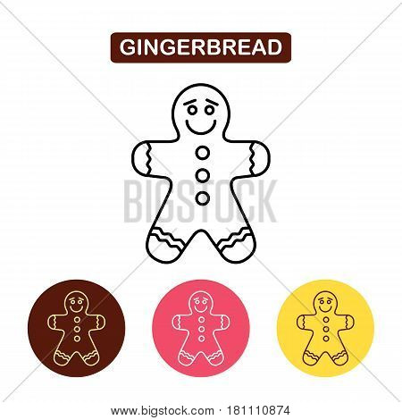 Gingerbread man icon. Christmas concepts. Bakery products image. Outline vector Logo illustration. Trendy Simple vector Illustration isolated for graphic and web design, for confectionery shop or cafe