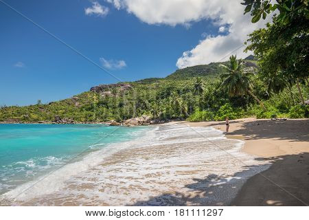 Anse Major Mahe Seychelles - December 16 2015: People enjoy the paradise wild Anse Major beach Mahe Island Indian Ocean East Africa.