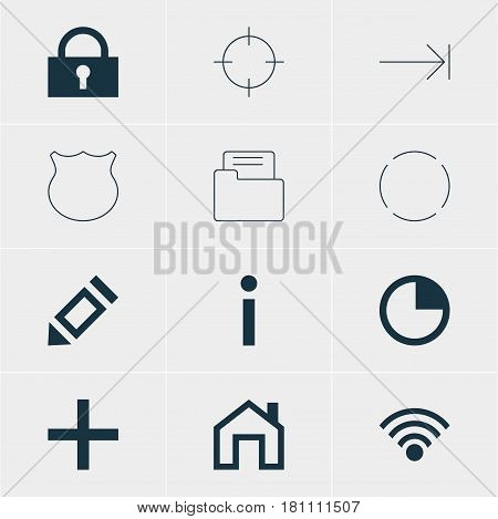 Vector Illustration Of 12 Interface Icons. Editable Pack Of Info, Tabulation Button, Mainpage And Other Elements.