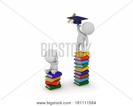 3D Character sitting on stack of books reaching for graduation hat and diploma while another one on a smaller stack can't reach the diploma.