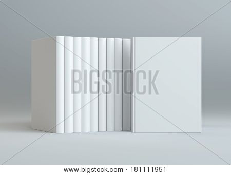 3D rendering books mockup on gray background. Stack of blank hardcover books . 3D Illustration