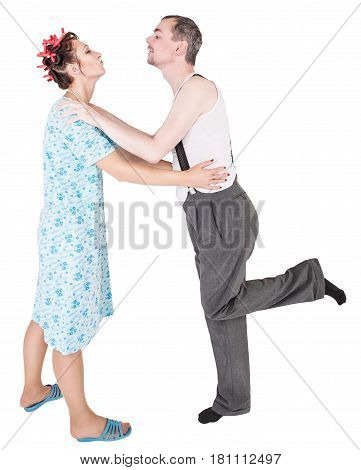 Funny Happy Family Couple Embracing