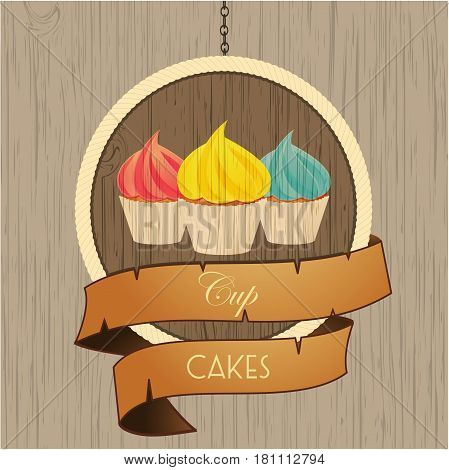 Trio of Cupcakes Over Circular Wooden Sign with Rope Edge and Vintage Banner with Text on Wood Background