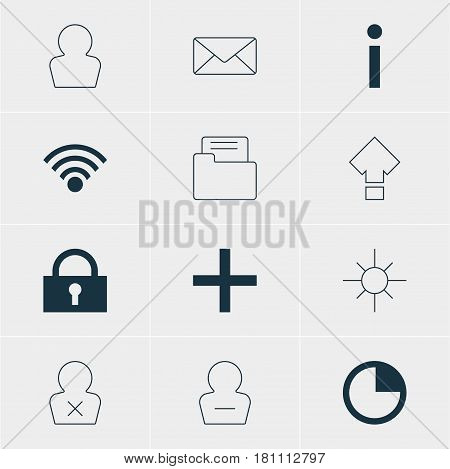 Vector Illustration Of 12 Interface Icons. Editable Pack Of Envelope, Stopwatch, Displacement And Other Elements.