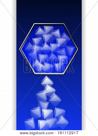 Hexagonal Metallic Border with Ice Cubes Over Blue and Black Panel