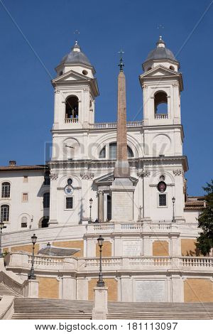 ROME, ITALY - SEPTEMBER 03: Trinita dei Monti Church, Piazza di Spagna in Rome, Italy on September 03, 2016.