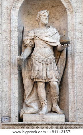 ROME, ITALY - SEPTEMBER 02: Statue of Charles the Great on the facade of Chiesa di San Luigi dei Francesi - Church of St Louis of the French, Rome, Italy on September 02, 2016.