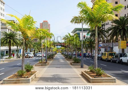 SANTA CRUZ DE TENERIFE, Canary Islands, SPAIN. March 1, 2017. View of Avenida Tres de Mayo 3 May Avenue , this the one of oldest and biggest street of Santa Cruz de Tenerife