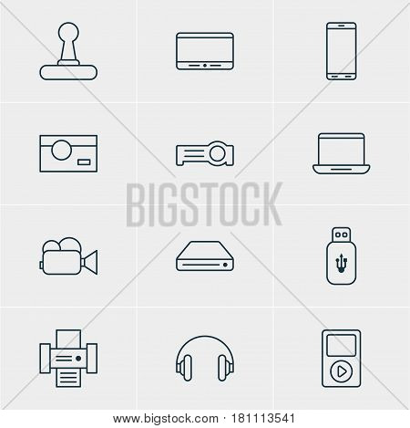Vector Illustration Of 12 Hardware Icons. Editable Pack Of Photography, Usb Card, Floodlight And Other Elements.