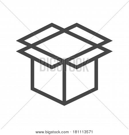 Box Thin Line Vector Icon. Flat icon isolated on the white background. Editable EPS file. Vector illustration.