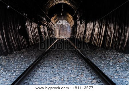Perspective of the inside of a railroad tunnel with the track extending to power line poles on the opposite end of the tunnel and details of features inside the tunnel