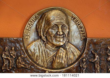 ZAGREB, CROATIA - MARCH 31: Saint Mother Teresa of Calcutta relief in Chapel of Saint Dismas in Zagreb, Croatia on March 31, 2015