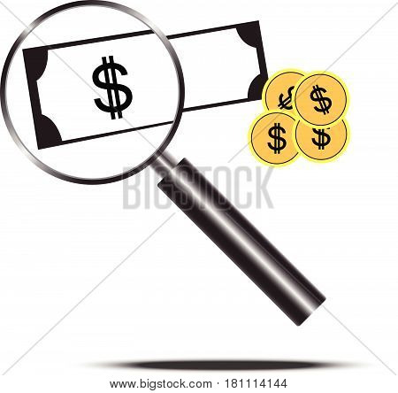Magnifying Glass With Money
