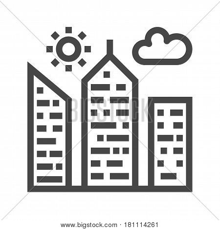 City Building Thin Line Vector Icon. Flat icon isolated on the white background. Editable EPS file. Vector illustration.