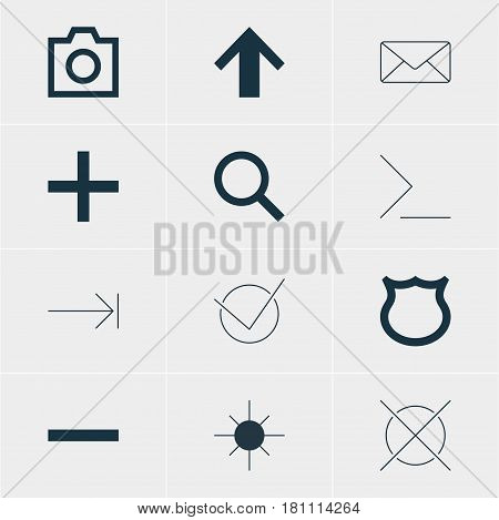 Vector Illustration Of 12 User Icons. Editable Pack Of Envelope, Seek, Plus And Other Elements.