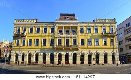 CLUJ NAPOCA ROMANIA - 03.04.2017: heroes boulevard historic building landmark architecture